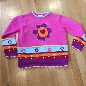 Hanna Andersson pink sunflower sweater sz 6 style
